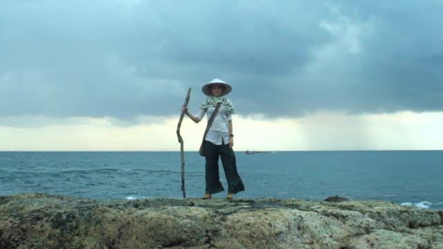 Lonely Traveler Asian Girl On The Oceanfront video