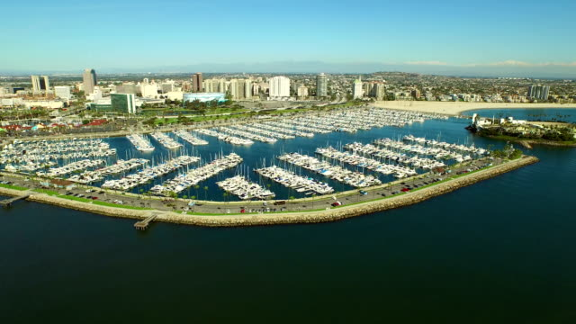 Long Beach Aerial Marina video