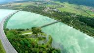 Long curve bridge on lake Woerthersee near Klagenfurt, Austria, Europe video