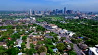 Long Extended Version Skyline over Austin , TX Barton Creek Greenbelt Area Aerial Drone Fly Over Austin Texas 2016 Greenbelt Springtime Gorgeous Capital City View from South Lamar Blvd with Skyline Cityscape Background video