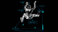 3D Long jump man with technical data video
