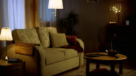 Long Shot of a Living Room in the Evening. Lights are on, Colors are Soft and Cozy. video