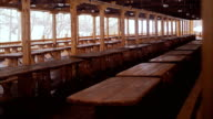 Long tables and benches. video