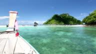 Long tail Boat riding at Andaman sea Krabi Phuket Thailand video