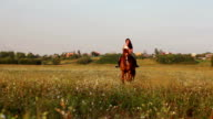 Long-haired horsewoman in summer field video