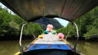 longtail boat running in Phang Nga Bay video