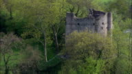 Longtown Castle  - Aerial View - England,  Herefordshire,  United Kingdom video