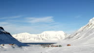 Longyearbyen, Svalbard. The small town is surrounded by mountains. A Sunny day in March. video