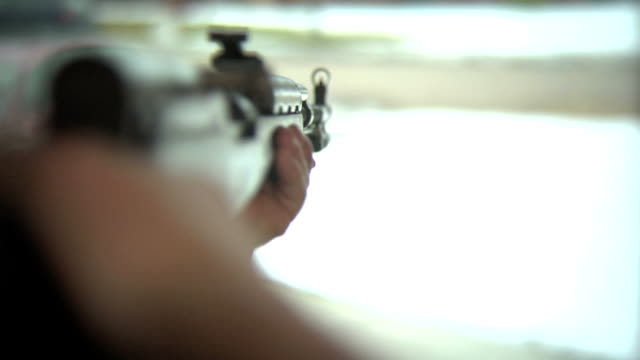 Looking down the barrel of a SKS assult rifle video