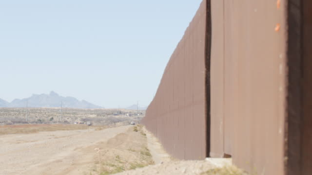 Looking Down the Fenceline on the US and Mexico Border video