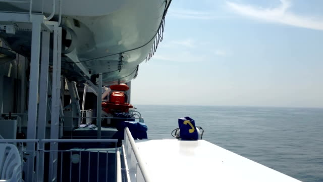 Looking Out To Sea From A Passenger Ship video