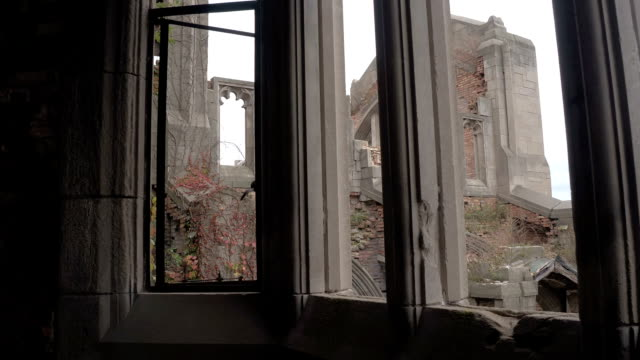 FPV: Looking through the window at collapsed sanctuary in City Methodist Church video