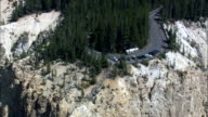 Lookout Points Over Grand Canyon Of the Yellowstone  - Aerial View - Wyoming,  Park County,  helicopter filming,  aerial video,  cineflex,  establishing shot,  United States video
