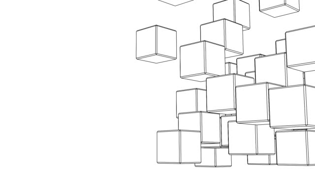 Loop Able Black Wire Frame Cube Abstract On White Text Space video