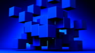 Loop Able Blue Cube Abstract On Blue Background video