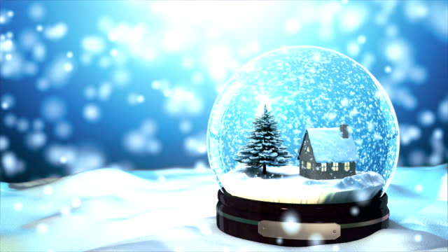 4K Loop able Christmas Snow globe Snowflake with Snowfall on Blue Background video