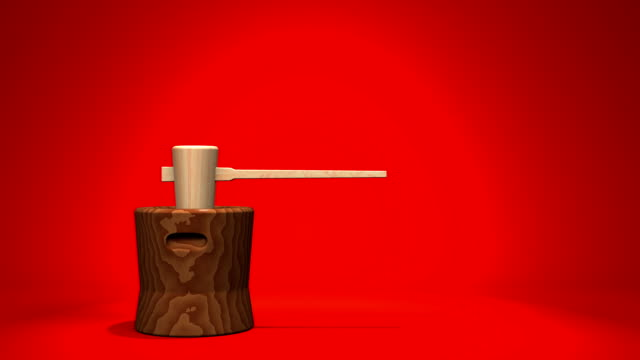 Loop Able Mochi Pounding On Red Background video