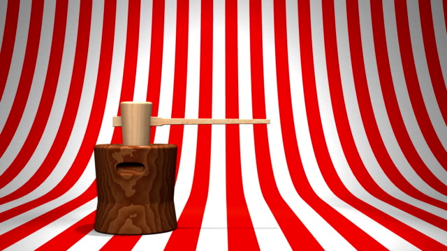 Loop Able Mochi Pounding On Red White Background video