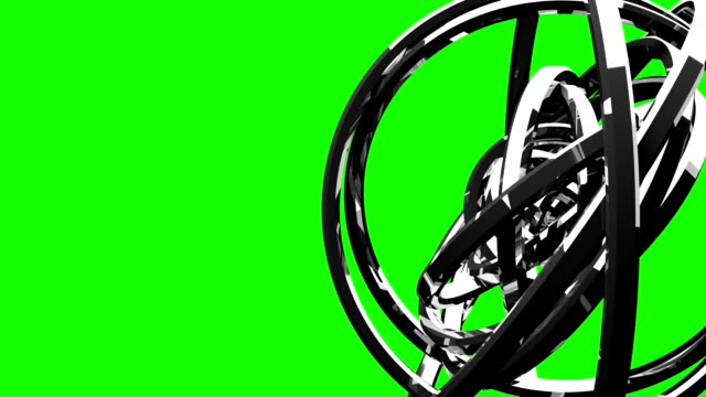 Loop Able Silver Circle Abstract On Green Chroma Key video