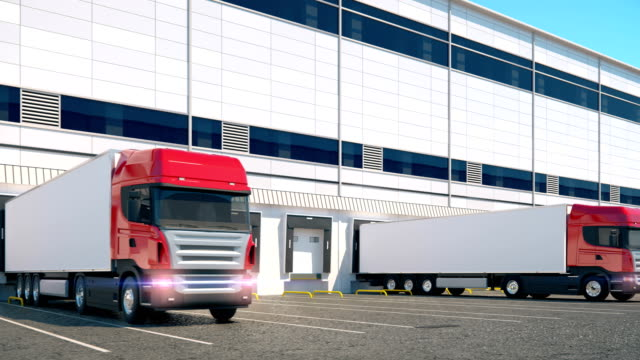 Loopable animation of unloading cargo from trucks to warehouse video