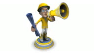 (Loop) BubbleHead of a Construction Worker with Bullhorn and Blueprint video