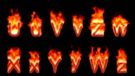 Loopable burning U, V, Z, W, X, Y video