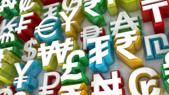 Loopable Colorful World Currency Symbols Scrolling By video