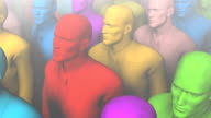 Loopable dolly over group of identical and colorful businessmen video
