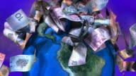 Loopable, Falling Canadian currency on spinning Globe video