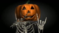 Loopable, Halloween, Skeleton with Pumpkin Head video