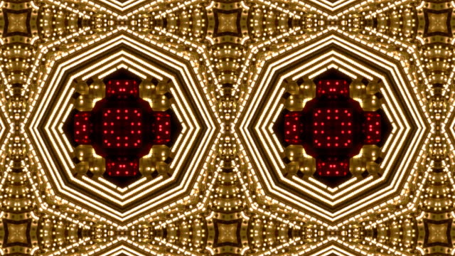Loopable Kaleidoscope White and Red Chasing Lights Frame video