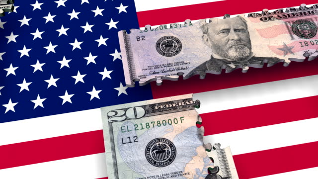 Loopable, Puzzles USA Money Currency over USA flag (3 versions) video