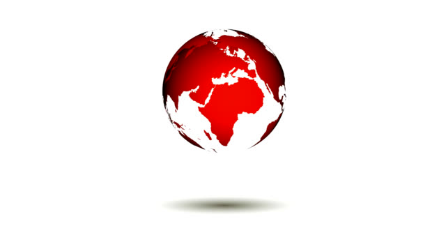 Loopable red world map spinning over a white background video
