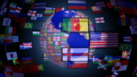 Loopable, Spinning Earth with World Flags video