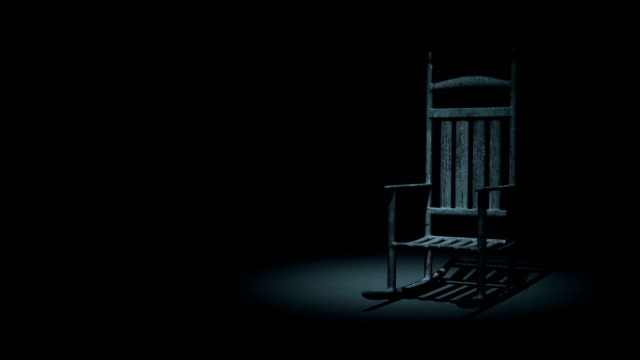 Loopable Spooky Rocking Chair On Dark Background video