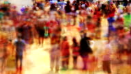 Loopable! Timelapse colorful anonymous festival crowd. Abstract background. video