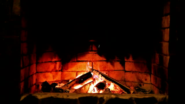 Looped: Fireplace. Burning flame. video