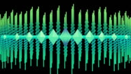Looping abstract audio equalizer of scrolling waveform beams video