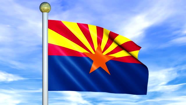 Looping Animated Flag of Arizona on a Pole video