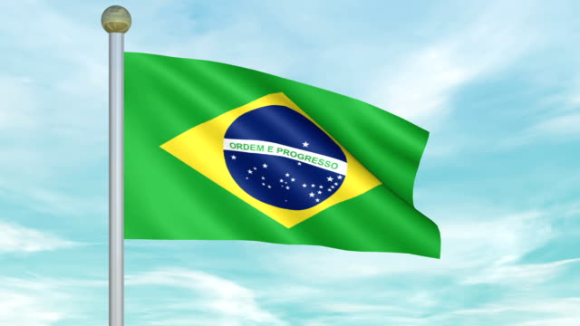 Looping Animated Flag of Brazil on a Pole video