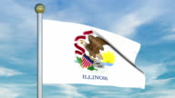 Looping Animated Flag of Illinois on a Pole video