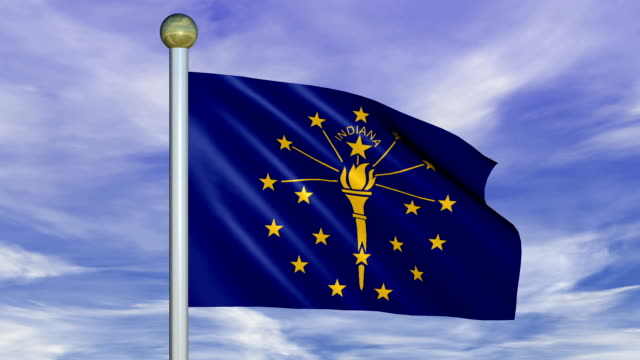 Looping Animated Flag of Indiana on a Pole video