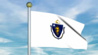 Looping Animated Flag of Massachusetts on a Pole video