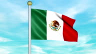 Looping Animated Flag of Mexico on a Pole video
