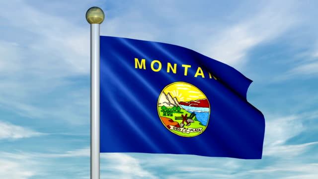 Looping Animated Flag of Montana on a Pole video
