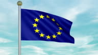 Looping Animated Flag of the European Union on a Pole video