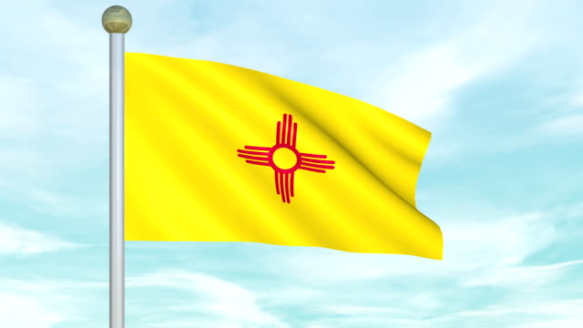 Looping Animated New Mexico Flag on a pole video