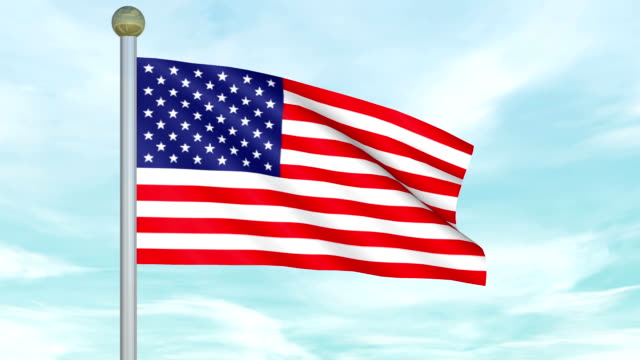 Looping Animated United States Flag on a pole video