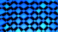 Looping background glass panels moving over blue rotating cubes video
