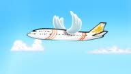 Looping cartoon plane with flapping bird wings video